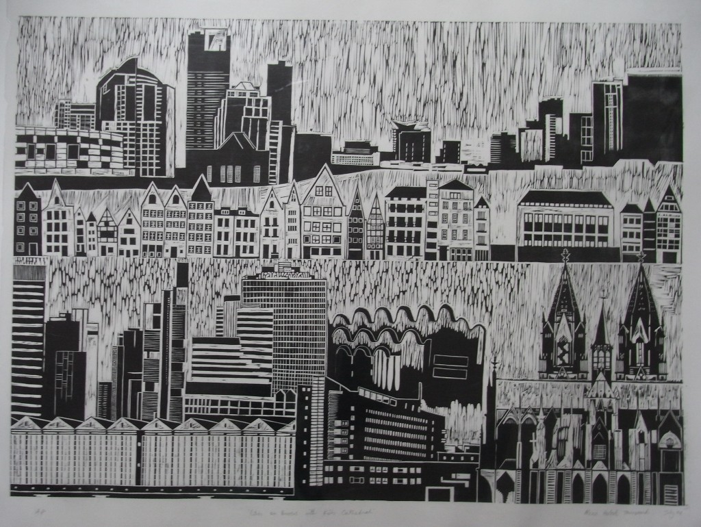 Cities on Rivers - linoprint - 2008