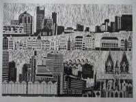 Cities on Rivers - linoprint - 2008